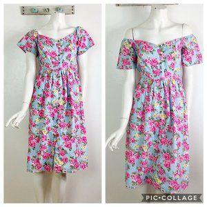 ASOS 6 Blue Pink Floral Button Front Dress Spring